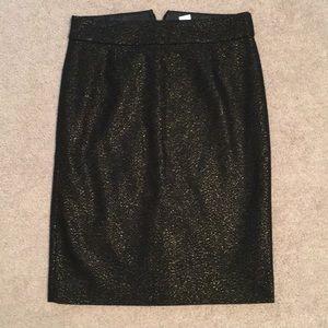 black j crew pencil skirt with gold sparkles